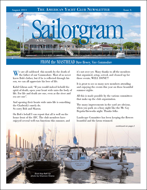 Monthly PDF newsletter for the American Yacht Club
