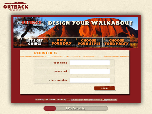 A proposed landing page for the Outback restaurant